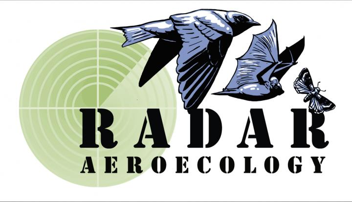 Radar aeroecology logo featuring a moth, bat, and bird and radar scope
