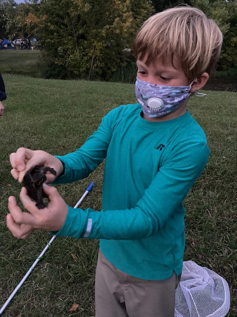 Masked child holding small turtle during a herp activity